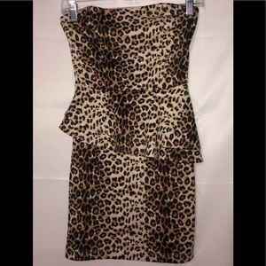 Strapless Cheetah Peplum Dress